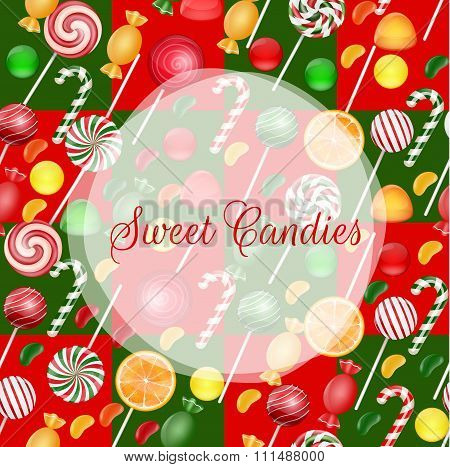 Sweets background with lolipop and orange slice