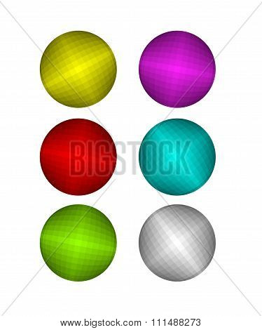 Set Of Colorful Disco Ball. Pink And Red Disco Ball.