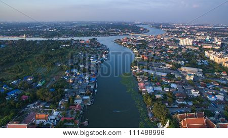 Aerial View Of Klong Lad Kred Important Landmark Of Chaopraya River In Prathumthani Province Out Ski