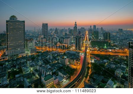 Sky Scrapper Scene Of Bangkok Thailand Capital Before The Dawn