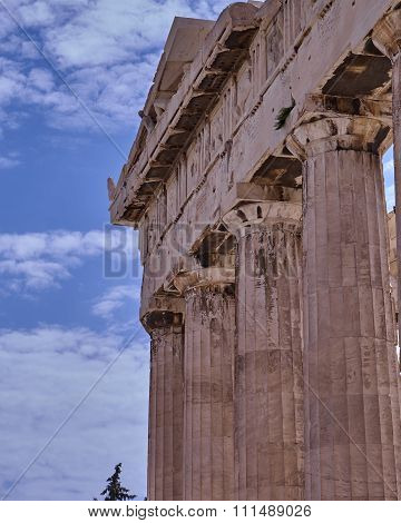 Athens Greece, unusual view of Parthenon ancient temple