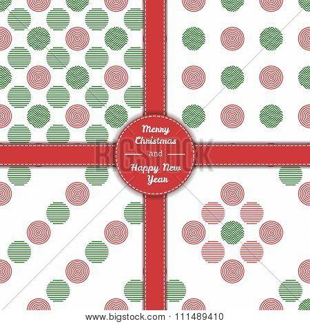 Christmas Tree Pattern Set In Line Art 06