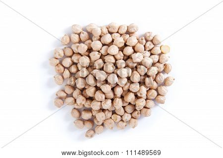 Chickpeas On A White Background..