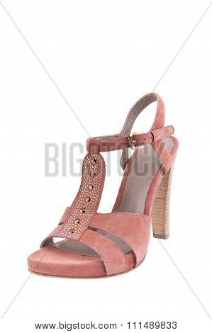 Female Pink Sandals. Isolated..
