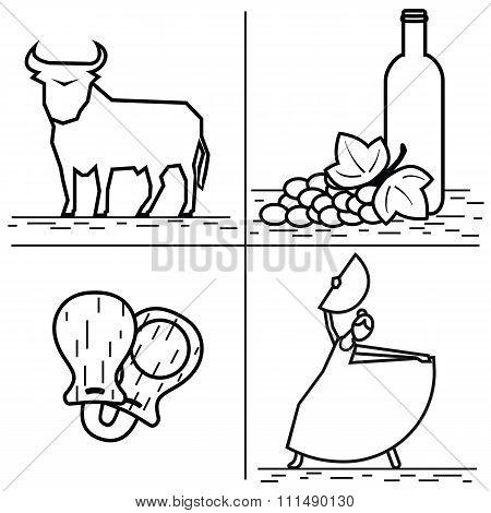 Vector  line Spain icon. Bull, wine, castanets, flamenco. Spanish culture