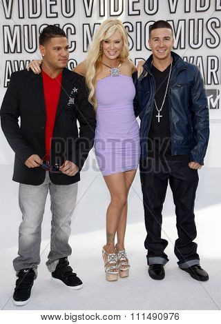 Ronnie Ortiz-Magro, Jenna Jameson and Vinny Guadagnino at the 2010 MTV Video Music Awards held at the Nokia Theatre L.A. Live in Los Angeles on September 12, 2010.