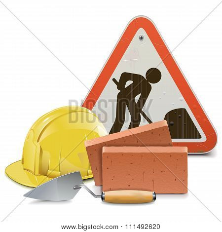 Vector Construction Concept With Bricks And Trowel