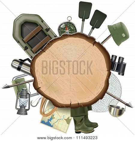 Vector Fishing Tackle With Wooden Board