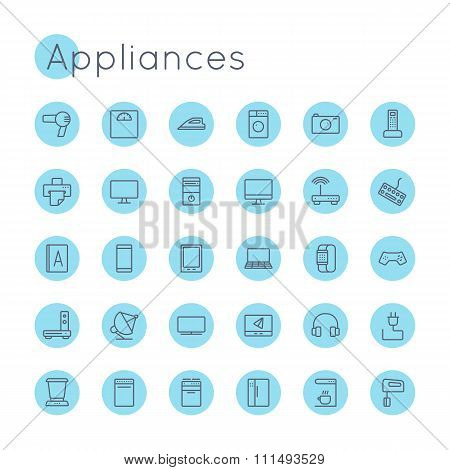 Vector Round Appliances Icons