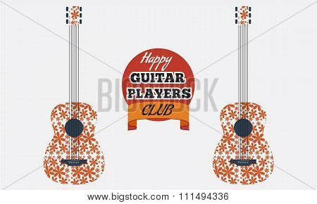 Poster, flyer, invitation, advertisement design for guitar club with filled with flower texture pattern. Club logo. Vector Illustration.
