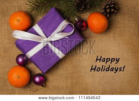 Tag Happy Holidays, Purple Gift, Christmas Decorations