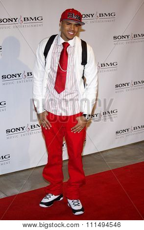 Chris Brown at the 2008 Sony/BMG Grammy After Party held at the Beverly Hills Hotel in Beverly Hills on February 10, 2008.