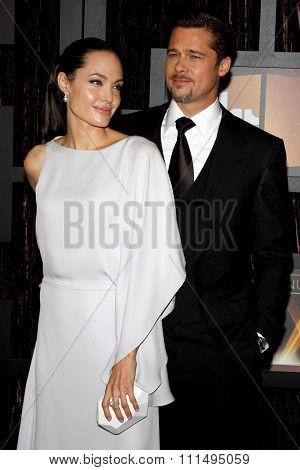 Angelina Jolie and Brad Pitt at the 14th Annual Critics' Choice Awards held at the Santa Monica Civic Center in Santa Monica on January 8, 2009.