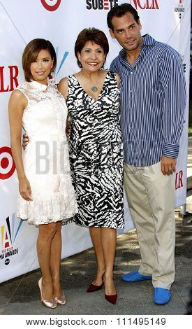Eva Longoria Parker, Janet Murguia, and Cristian de la Fuente at the 2008 ALMA Awards Nominees Press Conference held at the Wisteria Lane, Universal Studios Back Lot in Hollywood on July 21, 2008.