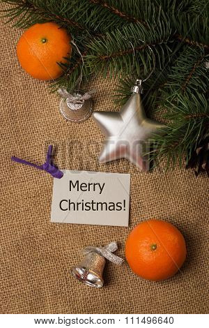 Tag Merry Christmas, Postcard, Mandarines, Fir-cones