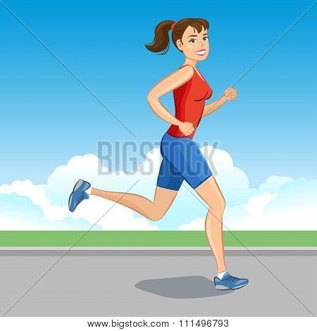 Smiling Cartoon Girl Jogging, Beautiful Running Woman. Vector Illustration.