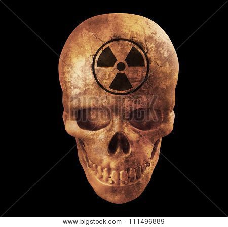 Human Skull With Nuke Sign On White Background With Clipping Path