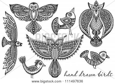 Set Of Hand Drawn Fancy Birds In Ethnic Ornate Doodle Style