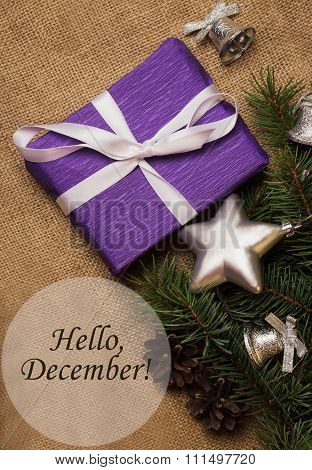 Tag Hello December, Purple Gift, Christmas Decorations