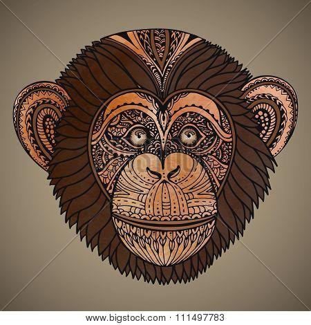 Hand Drawn Brown Vector Illustration Of Ornate Zentagle Chimpanzee Monkey
