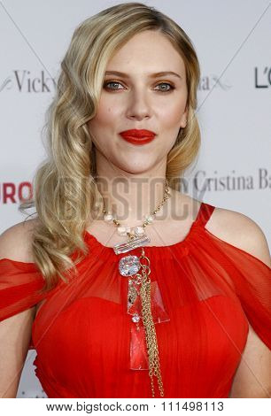 Scarlett Johansson at the Los Angeles premiere of 'Vicky Cristina Barcelona' held at the Mann Village Theatre in Westwood on August 4, 2008.