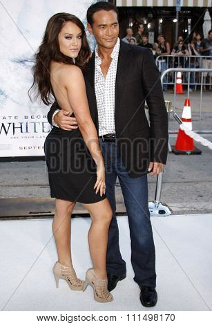 Lacey Schwimmer and Mark Dacascos at the Los Angeles premiere of 'Whiteout