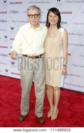 Soon-Yi Previn and Woody Allen at the Los Angeles premiere of 'Vicky Cristina Barcelona' held at the Mann Village Theatre in Westwood on August 4, 2008.