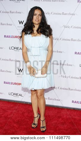 Salma Hayek at the Los Angeles premiere of 'Vicky Cristina Barcelona' held at the Mann Village Theatre in Westwood, California, USA on August 4, 2008.