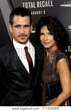 Colin Farrell and Claudine Farrell at the Los Angeles premiere of 'Total Recall' held at the Grauman's Chinese Theatre in Hollywood on August 1, 2012.