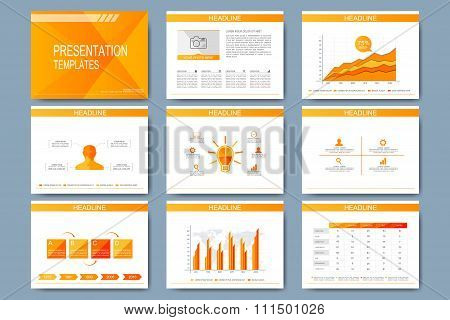 Set of vector template for presentation slides. Modern design with graph and charts