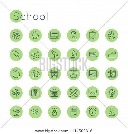 Vector Round School Icons