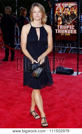 Jodie Foster at the Los Angeles premiere of 'Tropic Thunder' held at the Mann Village Theater in Westwood on August 11, 2008.