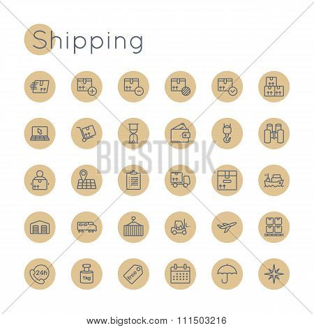 Vector Round Shipping Icons