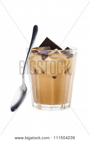 Thai Ice Black Coffee Topping With Milk In Classic Glass. Isolated On White Backgorund