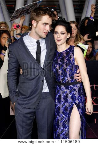 Robert Pattinson and Kristen Stewart at the Los Angeles premiere of 'The Twilight Saga: Breaking Dawn Part 1' held at the Nokia Theatre L.A. Live in Los Angeles on November 14, 2011.