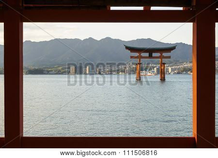 Tori Gate During High Tide Itsukushima Shrine In Hiroshima Japan