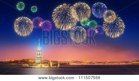 Beautiful fireworks near Maiden Tower or Kiz Kulesi Istanbul