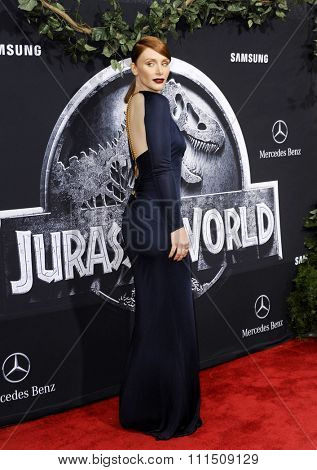 Bryce Dallas Howard at the Los Angeles premiere of 'Jurassic World' held at the Dolby Theatre in Hollywood, USA on June 9, 2015.