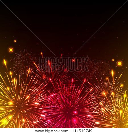 Colorful shiny realistic fireworks background.