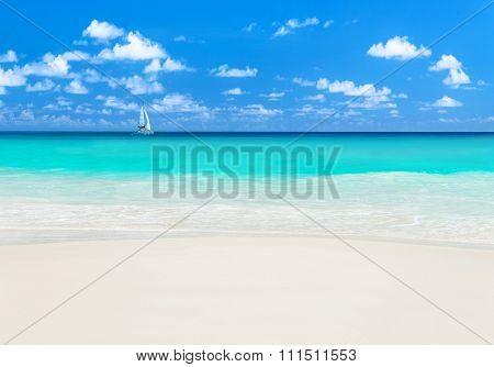 Yacht At Tropical Beach. Anse Georgette, Praslin Island, Seychelles