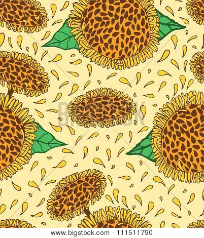 Sunflowers seamless pattern, hand drawn sunny flowers