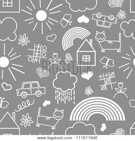 Seamless pattern, drawn in a childlike style.