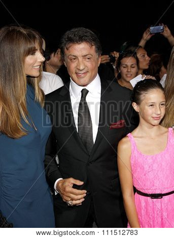 Jennifer Flavin and Sylvester Stallone at the Los Angeles premiere of 'The Expendables 2' held at the Grauman's Chinese Theatre in Hollywood on August 15, 2012.
