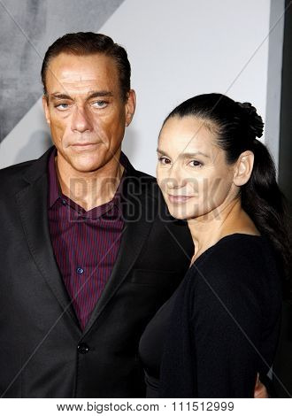 Jean-Claude Van Damme and Gladys Portugues at the Los Angeles premiere of 'The Expendables 2' held at the Grauman's Chinese Theatre in Hollywood on August 15, 2012.