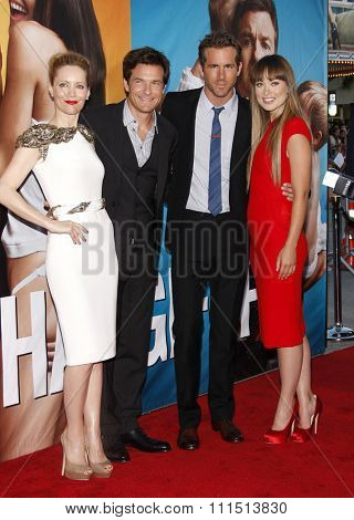 Leslie Mann, Jason Bateman, Ryan Reynolds and Olivia Wilde at the Los Angeles premiere of 'The Change-Up' held at the Regency Village Theatre in Westwood on August 1, 2011.