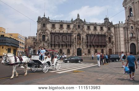 Lima, Peru - December 2, 2015: Archbishop S Palace On 2 December