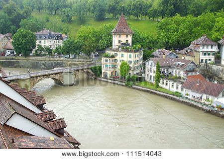 Bern's old town from Nydeggbruecke. Bern's quaint Old Town, a UNESCO World Cultural Heritage Site, i