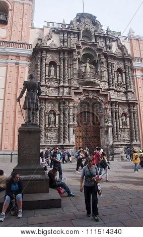 Lima, Peru - December 3, 2015:   La Merced Church On 3 December