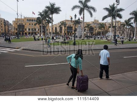 Lima, Peru - December 3, 2015:  Plaza Mayor On 3 December 2015 I