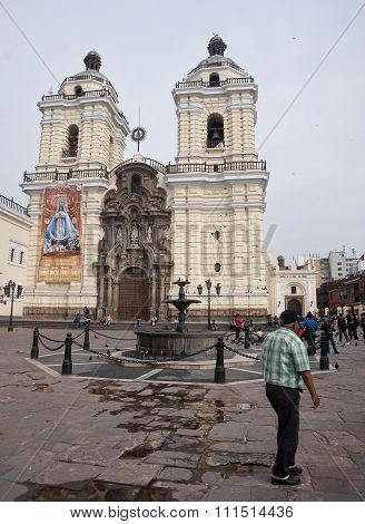 Lima, Peru - December 3, 2015:  San Francisco Church On 3 Decemb